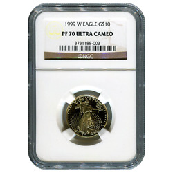 Certified Proof American Gold Eagle 10 1999-w Pf70 Ngc