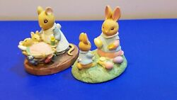Avon Forest Friends Figurines Mice Bunny Rabbits Easter Fun All Tucked In
