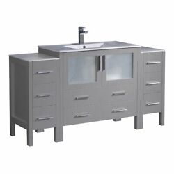 Fresca Torino 60 Engineered Wood Bathroom Cabinet With Integrated Sink In Gray