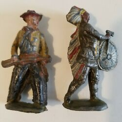 Metal Cast Co. Vintage Rare Lead Toys S 32 And34 Cowboy And Indian Barclay Manoil