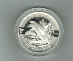 2013 10 Proof Orca 9999 1/2 Oz. Pure Silver Coin In Its Original Case With Coa