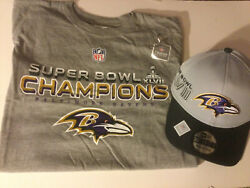 Baltimore Ravens 2013 Super Bowl 47 Champions Shirt And Hat New S Or Xl