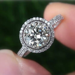 1.00 Ct Real Diamond Solitaire Wedding Ring Solid 18k White Gold Ring Size 6 7 8