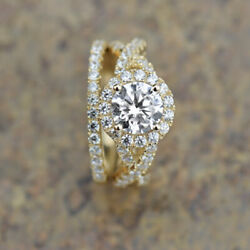 18k Yellow Gold Real 1.75ct Diamond Engagement Wedding Band Set For Bride Size 8