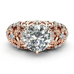 18 K Rose Gold Ring 1.00 Ct Real Solitaire Diamonds Engagement Wedding Rings 5 6