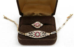 Magnificent Edwardian French 14k Gold Bracelet Ruby Diamond And Ring Size 7.25