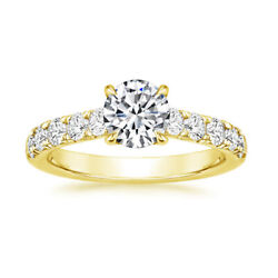 Black Friday Solde 0.95 Ct Vrai Diamant Fianandccedilailles Bague 18k Or Jaune Taille 6
