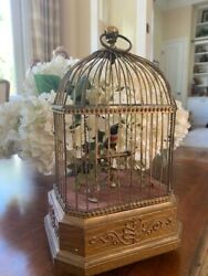 Antique Singing Bird In Wire Cage- Victorian- Measures 11 1/2 Inches In Height.
