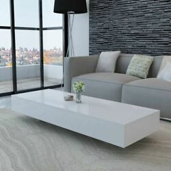 Modern Coffee Table High Gloss White 45.3 Accent Tea Side Living Room Stand Mdf