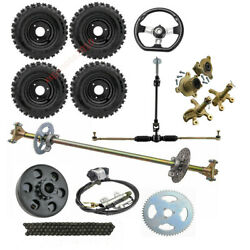 29 Go Cart Rear Complete Axle Kit + Front Steering Assembly Tie Rod + 6 Wheels