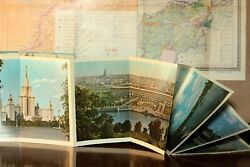 Vintage Travel Guide Pictures Guidebook Moscow 1950s Ussr Prospectus And Map