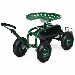 Garden Rolling Cart Work Seat With 360 Degrees Swivel Heavy Duty Free Shipping