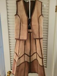 Vintage 70's Young East Vest And Skirt Cotton And Suede Leather Size 9/10