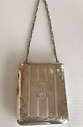 Antique Sterling Silver Powder Compact Purse With Chain- 168 G. W/ Mirror