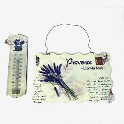 Indoor/outdoor Metal Thermometer And Garden Sign Set Lavender French Country New
