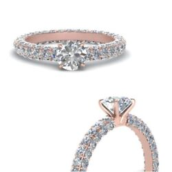 Round Real Diamond 18k Rose Gold 1.10 Ct Solitaire Engagement Ring 4 5 6 7 8