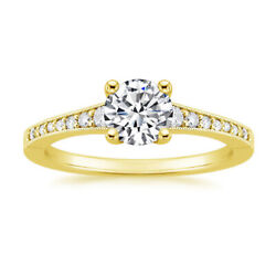 0.53 Ct Natural Diamond Engagement Fine 14k Yellow Gold Solitaire Ring 7 8 6 5
