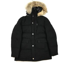 Recent Brooks Brothers Black Wool Quilted Down Fur Hooded Parka Men's Medium