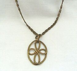 Miriam Haskell Antiqued Brass-tone 28.25 Necklace With Oval Cross Pendant