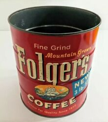 Vintage Folgers Coffee Can 1959 3lbs. Rustic Old Home Decor Tin