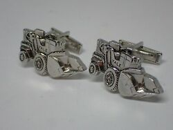 Vintage Yale Front End Loader Cufflinks By Mercury Vg Used Silver Tone