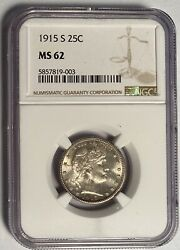 1915-s Barber Quarter Semi - Key Date Ngc Ms62 — Only 704,000 Minted
