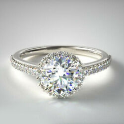 14k White Gold Real Solitaire Ring 0.75 Ct Diamond Engagement Rings Size 4 5 6 7
