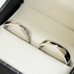 Real Diamond 0.18 Ct Couples Valentine Rings 950 Platinum Band Sets All Sizes