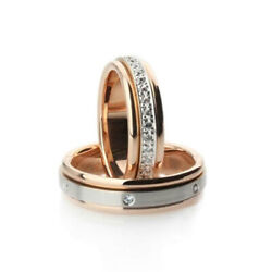 14k Rose Gold Real Diamond 0.42 Ct Couples Valentine Band Sets All Sizes