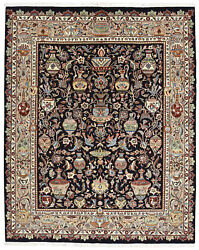 Fine Floral Oriental Kashmar Rug 6and039x8and039 Blue Hand-knotted Wool Pile