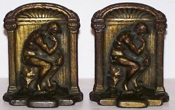 Pair Of Neoclassical Greek The Thinker Thinking Man Cast Iron/metal Bookends