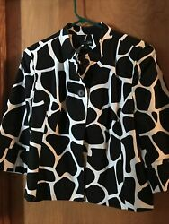 East 5th Black And White Cow Animal 3/4 Sleeve Print Two Button Crop Jacket L