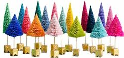 Glitterville French Forest Multicolor Tabletop Sisal Tree Set