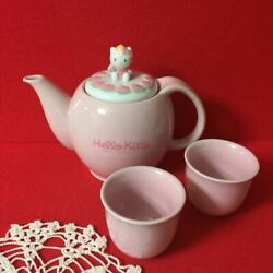 Hello Kitty Teapot And 2 Cup Set Chinese Series Pottery Sanrio 1997 Used Japan