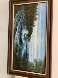 Huge Vintage Seascape Oil Canvas Painting Signed June Nelson Hanging 56 X 32