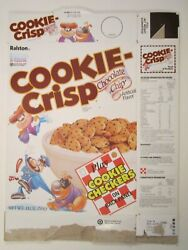1989 Cereal Box Ralston Cookie Crisp Checkers [g10b6]