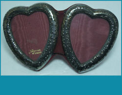 Vintage English Sterling Picture Frame In Double Heart Shape For 2 Pictures