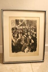 Original Vintage Lithograph - Steinlen La Feuille Signed In Red - Stamped Read