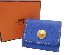 Auth Hermes Selle Mini Memo Sticky Note Cover Blue Leather/goldtone - E47463f