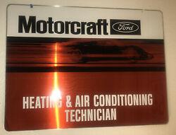 Vintage Nos Ford Motorcraft Heating And Air Conditioning Technician Metal Sign Oem