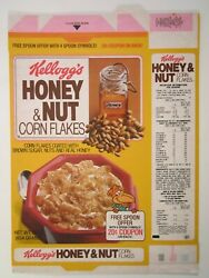 1983 Cereal Box Kellogg's Honey And Nut Corn Flakes Nut Bird On Back [n9a]