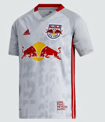 Adidas Mls New York Red Bulls Grey Red Yellow S/s Jersey Shirt New Youth Boys M