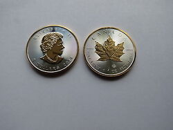 2014 Canada Silver Maple Leaf 1 Oz With 24k Gold Select On Both Sides And Rim