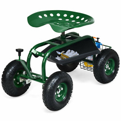 Rolling Garden Cart Work Seat With 4 Wheels Sturdy Durable And Rustproof Awesome