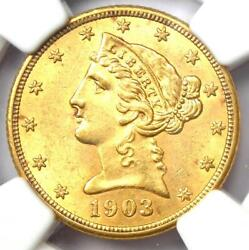 1903 Liberty Gold Half Eagle 5 Coin - Certified Ngc Ms61 Bu Unc - Rare Coin