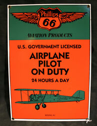 Phillips 66 Aviation Products Boing 40 Airplane Porcelain Enamel Repo Sign