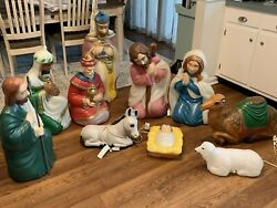 10pc Vintage General Foam Blow Mold Nativity Set All With Light Cords Great Cond