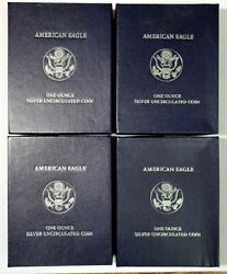 4 2007-w 1oz Silver Eagle Uncirculated Coins With Us Mint Boxes And Coas