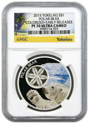 2015 Tokelau 1oz. Silver Snow Flake Polar Bear. Colorized- Early Releases. Pf70