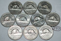 Canada 1990 To 1999 5 Cents Circulated Nickels 10 Coins Lot I97